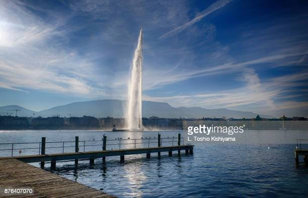 Jet d'Eau on Lake Geneva in Switzerland