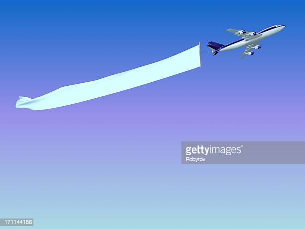jet dragging a blank sky banner