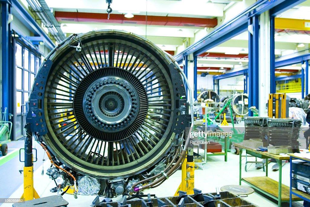 Jet Engine in Maintenance Hangar. Full overhaul of Jet Turbine : Stock Photo