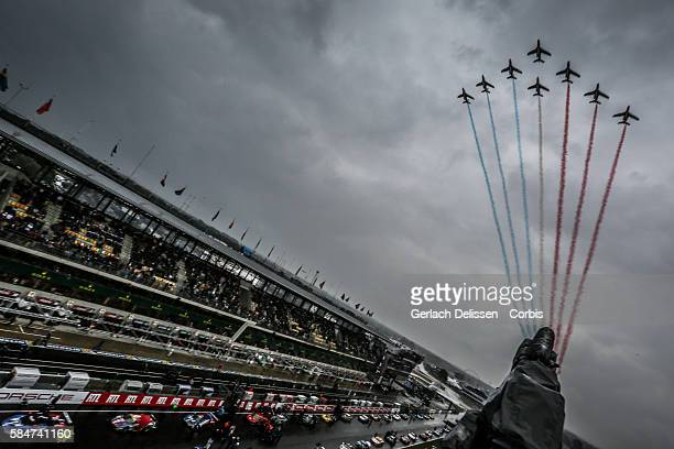 Jet fighters with the national French tri colors during the 84th running of the Le Mans 24 Hours on June 18 2016 in Le Mans France