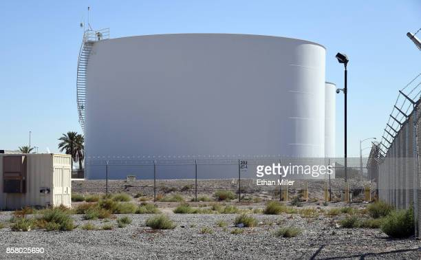 Jet fuel tanks just east of the Las Vegas Village site of the Route 91 Harvest country music festival that were reportedly targeted by gunman Stephen...