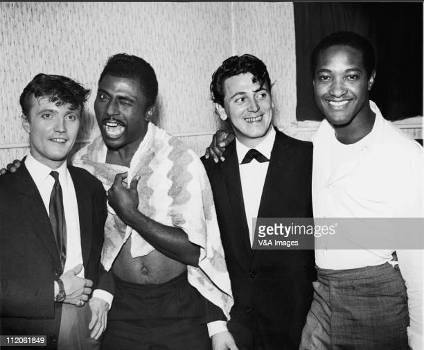 Jet Harris Little Richard Gene Vincent Sam Cooke posed backstage on Little Richard package tour 1962