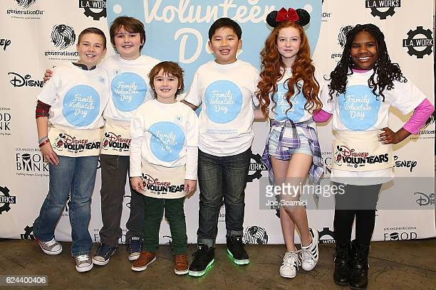 Jet Jurgensmeyer Quinn and Cooper Friedman Albert Tsai Francesca Capaldi and Trinitee Stokes attend the generationOn and Disney Family Volunteer Day...