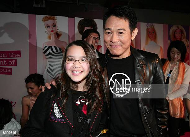 Jet Li and Christy Chung's daughter attend the opening ceremony of Barbie flagship store on March 6 2009 in Shanghai China