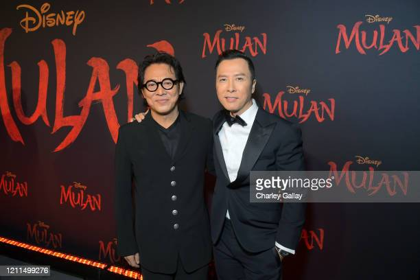Jet Li and Donnie Yen attend the World Premiere of Disney's 'MULAN' at the Dolby Theatre on March 09 2020 in Hollywood California