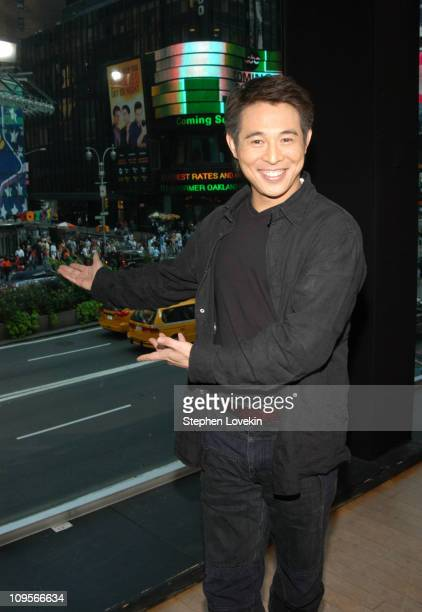 "Jet Li during Anne Hathaway and Jet Li Visit MTV's ""TRL"" - August 10, 2004 at MTV Studios in New York City, New York, United States."