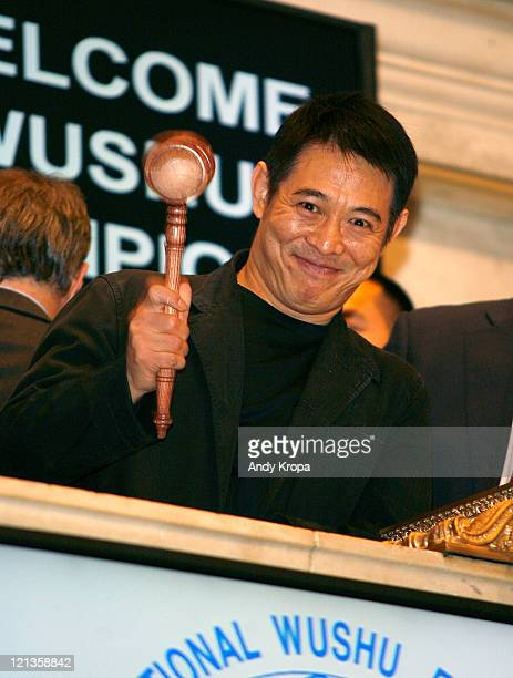 Jet Li rings the closing bell at the New York Stock Exchange on August 18 2011 in New York City