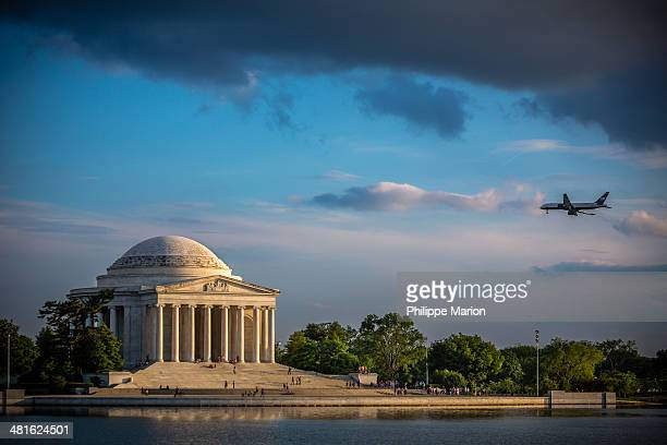 CONTENT] Jet plane flying over Jefferson Memorial in the Capitol Mall Washington DC The Thomas Jefferson Memorial is modeled after the Pantheon of...