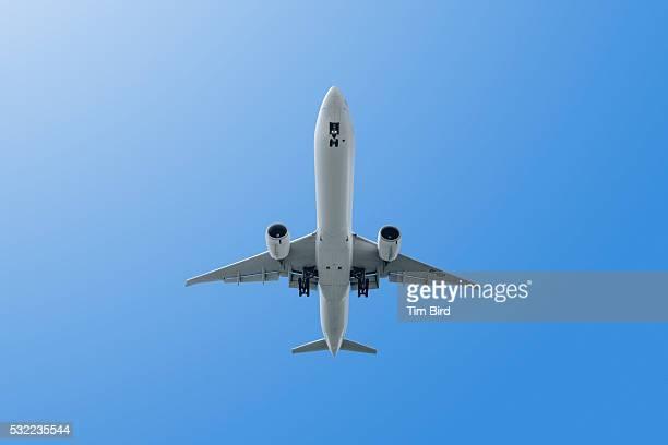 Jet plane shot from below.