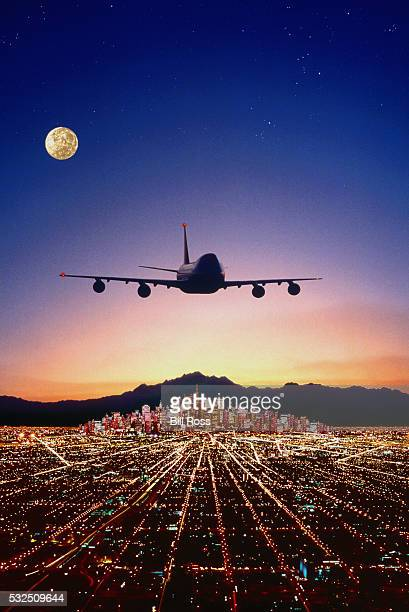 Jet Plane Soaring Over City