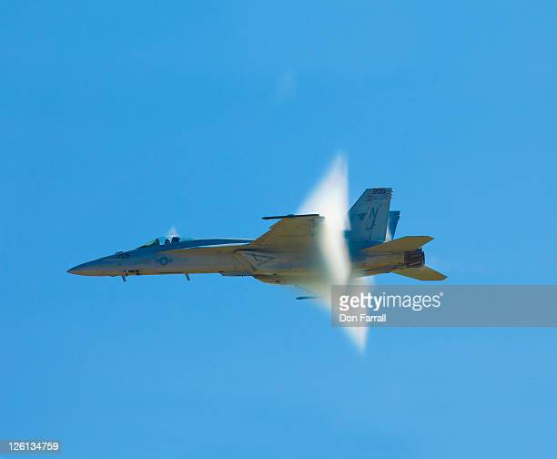 F/A-18 jet reaching supersonic speed