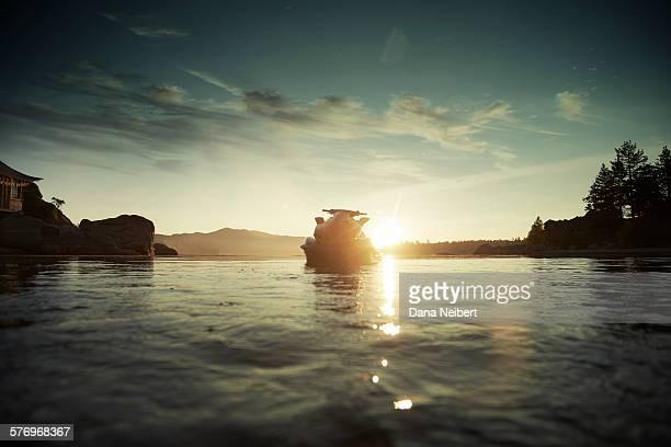 A jet ski floats in a lake