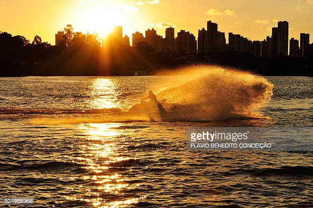 Jet Ski on the lake with sunset