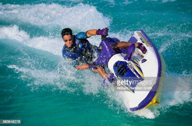 Jet Skier Leaning into Turn