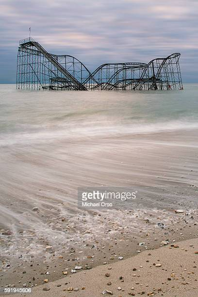 Jet Star roller coaster in the atlantic ocean from Hurricane Sandy. Seaside Heights, NJ