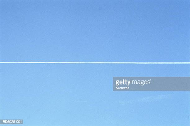 jet stream in blue sky - microzoa stock pictures, royalty-free photos & images