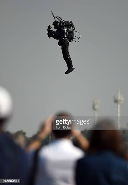 Jet suit pilot performs a flight during the Red Bull Air Race on February 3 2018 in Abu Dhabi United Arab Emirates