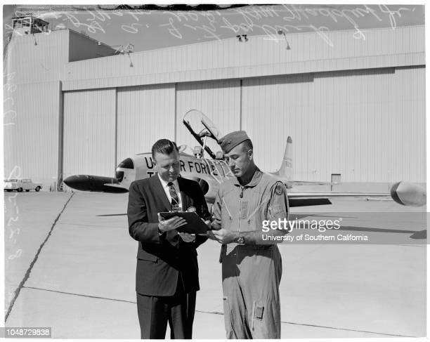 T33 jet trainer 25 August 1959 GA Fitzpatrick Major General Sam Madduz Junior Caption slip reads GA Fitzpatrick Asst Gen Mgr of Lockheed's California...