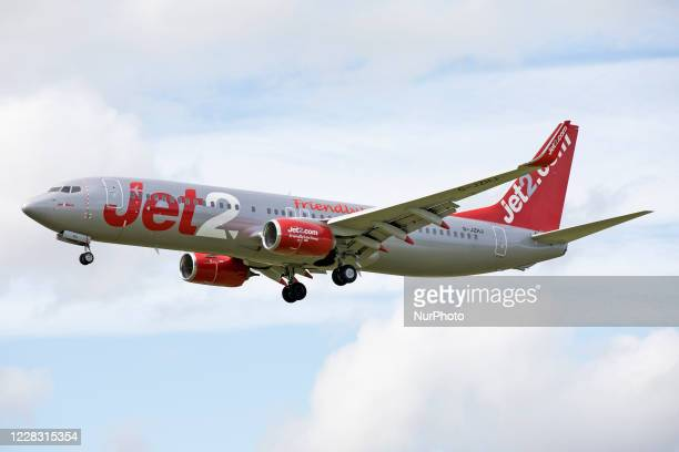 Jet2 Boeing 737 lands at Newcastle Airport, England on 23rd July 2020.