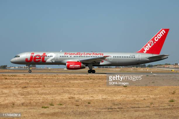 Jet2.com Boeing 757-200 ready to leave Faro airport.