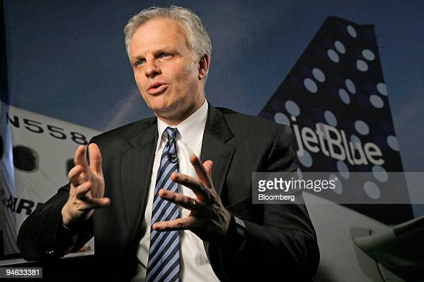 JetBlue Chief Executive Officer David Neeleman speaks during an interview at the JetBlue headquarters in the Forest Hills neighborhood of Queens New...