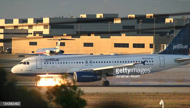 JetBlue flight 292 makes an emergency landing at LAX after the front landing gear malfunctioned after taking off from Burbank Wednesday afternoon on...