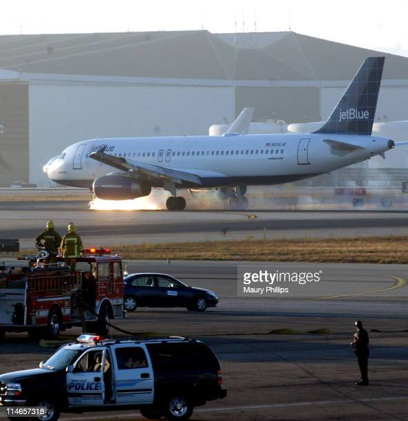 JetBlue Flight 292 makes an emergency landing at LAX International Airport in Los Angeles California on September 21 2005 after discovering its front...