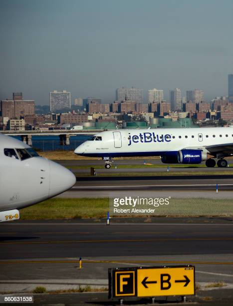 JetBlue passenger jet prepares to take off at LaGuardia Airport in New York New York
