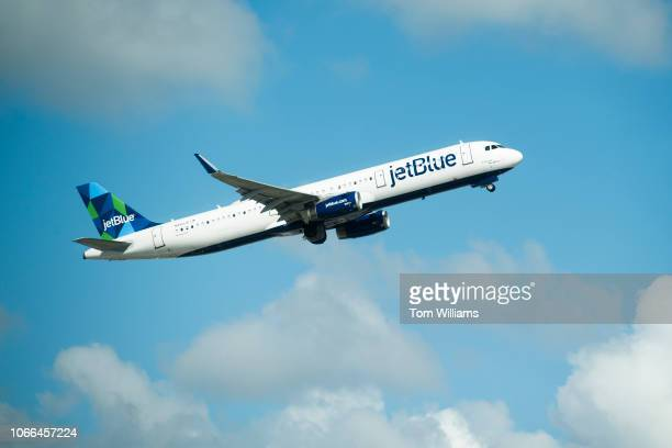 JetBlue plane is seen on ascent from Fort LauderdaleHollywood International Airport on November 07 2018