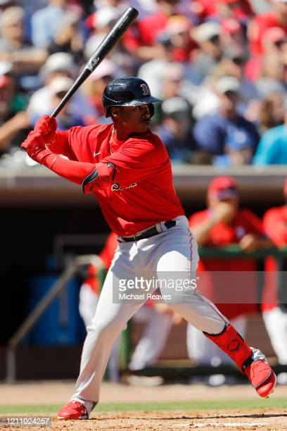 Jeter Downs of the Boston Red Sox at bat against the Philadelphia Phillies during the fourth inning of a Grapefruit League spring training game on...