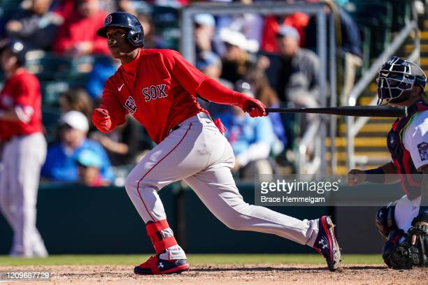 Jeter Downs of the Boston Red Sox bats during a spring training game against the Minnesota Twins on February 28 2020 at the Hammond Stadium in Fort...