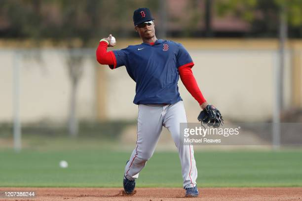 Jeter Downs of the Boston Red Sox fields a ground ball during a team workout at jetBlue Park at Fenway South on February 17 2020 in Fort Myers Florida