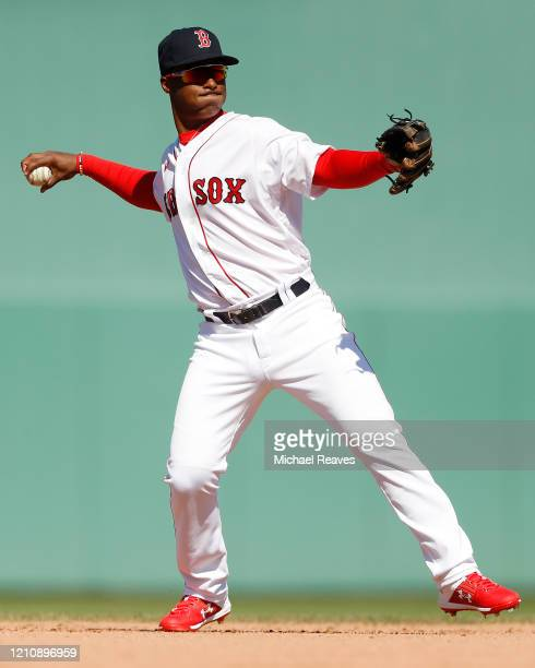 Jeter Downs of the Boston Red Sox in action against the New York Yankees during a Grapefruit League spring training game at JetBlue Park at Fenway...