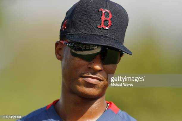 Jeter Downs of the Boston Red Sox looks on during a team workout at jetBlue Park at Fenway South on February 17 2020 in Fort Myers Florida