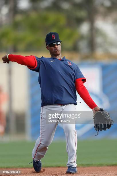 Jeter Downs of the Boston Red Sox participates in a drill during a team workout at jetBlue Park at Fenway South on February 17 2020 in Fort Myers...