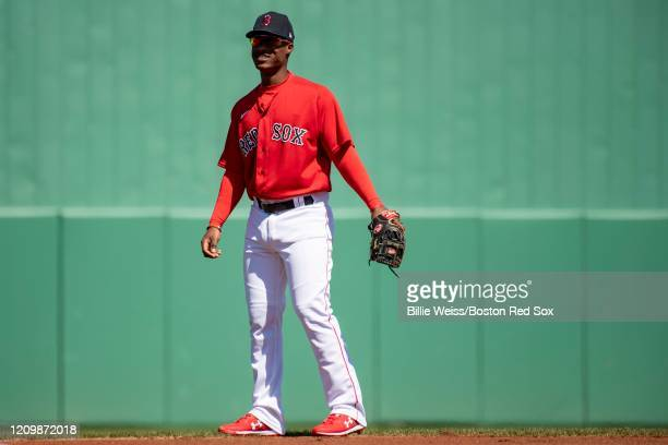 Jeter Downs of the Boston Red Sox reacts during the first inning of a Grapefruit League game against the Atlanta Braves on March 1 2020 at jetBlue...