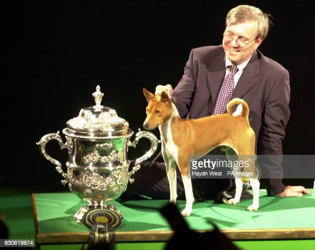 Jethard Cidevant the Basenji known as Sid with owner Paul Singleton from Colchester Essex after being named a Supreme Champion at the Crufts dog show...