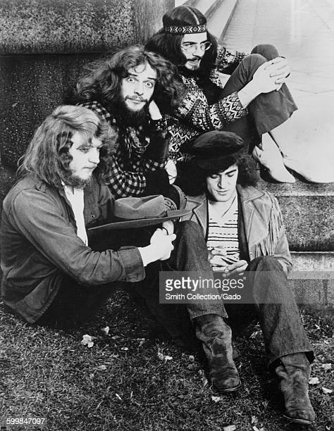 Jethro Tull band members posing for a group photo some wearing hippie attire 1945