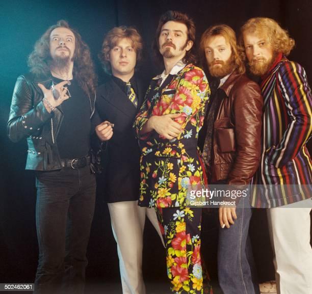 Jethro Tull posed in Amsterdam Netherlands in 1972 Left to right Ian Anderson Barriemore Barlow Jeffrey Hammond John Evan Martin Barre