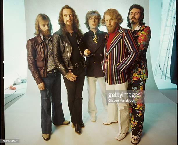 Jethro Tull posed in Amsterdam Netherlands in 1972 Left to right John Evan Ian Anderson Barriemore Barlow Martin Barre Jeffrey Hammond