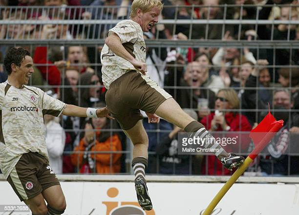 Jeton Arifi and Timo Schulz celebrate the first goal during the Third league match between FC St Pauli and VfB Lubeck on August 13 2005 in Hamburg...
