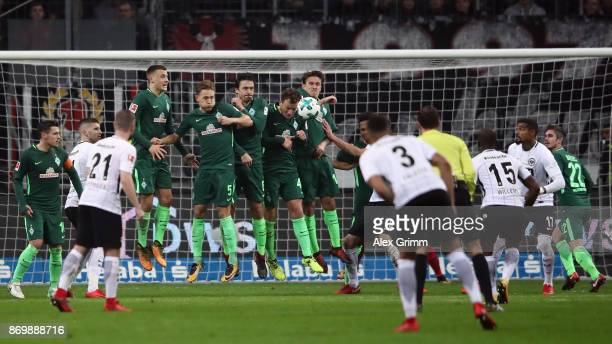 Jetro Willems of Frankfurt shoots a freekick during the Bundesliga match between Eintracht Frankfurt and SV Werder Bremen at CommerzbankArena on...