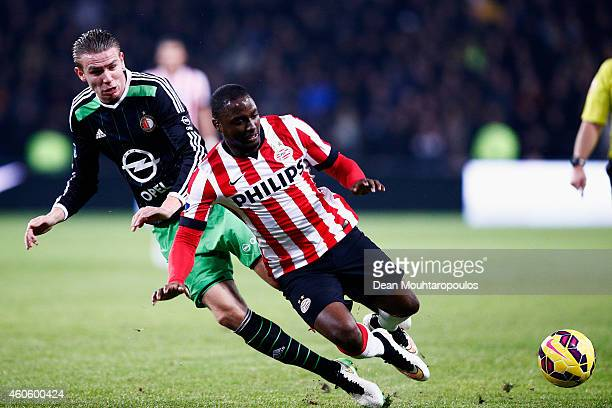 Jetro Willems of PSV and Sven van Beek of Feyenoord battle for the ball during the Eredivisie match between PSV Eindhoven and Feyenoord Rotterdam...