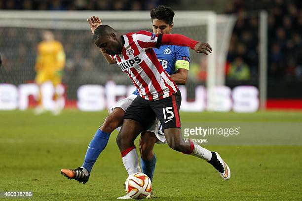 Jetro Willems of PSV Christian Noboa of Dinamo Moscow during the UEFA Europa League group match between PSV Eindhoven and Dinamo Moscow on December...