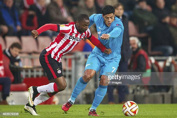 Jetro Willems of PSV Hulk of FC Zenit during the round of 32 UEFA Europa League match between PSV Eindhoven and Zenit Saint Petersburg on February 19...