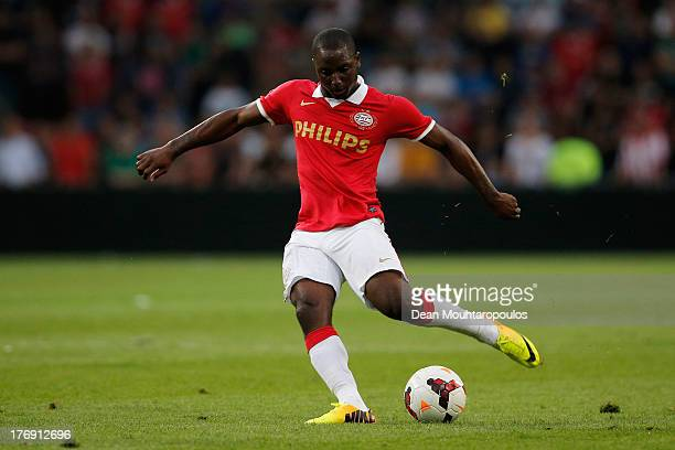 Jetro Willems of PSV in action during the Eredivisie match between PSV Eindhoven and Go Ahead Eagles at Philips Stadion on August 17 2013 in...