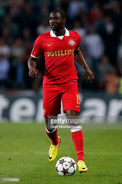 Jetro Willems of PSV in action during the UEFA Champions League Playoff First Leg match between PSV Eindhoven and AC Milan at PSV Stadion on August...