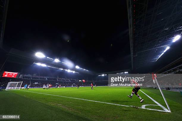 Jetro Willems of PSV takes a corner during the Dutch Eredivisie match between PSV Eindhoven and SC Heerenveen held at Philips Stadion on January 22...