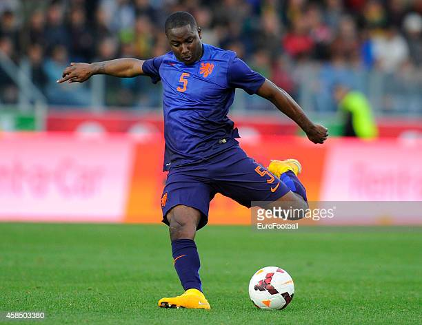 Jetro Willems of the Netherlands in action during the UEFA U21 Championship second leg playoff between Portugal and Netherlands at the Mata Real...