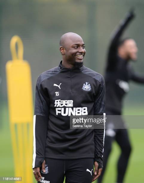 Jetro Willems smiles during the Newcastle United Training Session at the Newcastle United Training Centre on October 16 2019 in Newcastle upon Tyne...